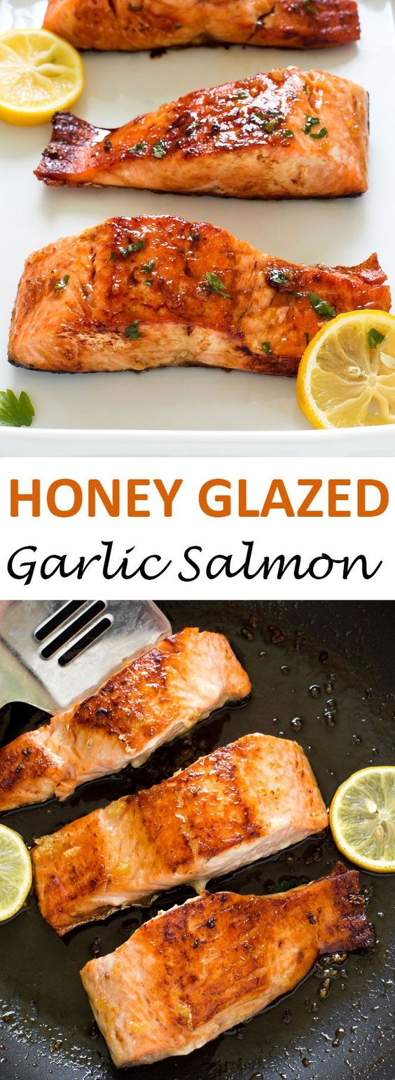 20 Minute Honey Garlic Salmon. Pan fried and served with a sweet and sticky honey lemon glaze.