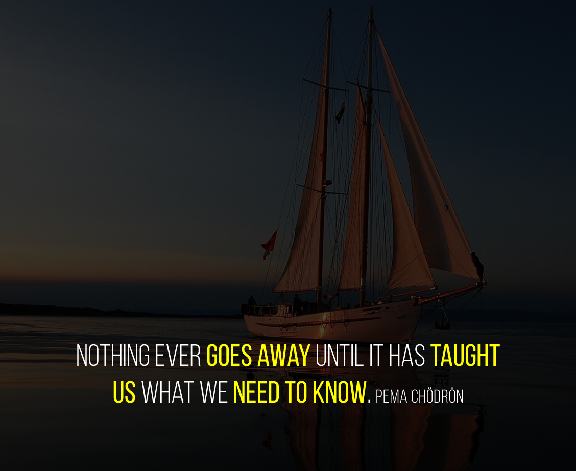 Nothing ever goes away until it has taught us what we need to know. Pema Chödrön