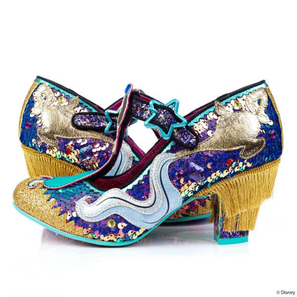 pair of fringed heel sequins shoes with magic lamp applique