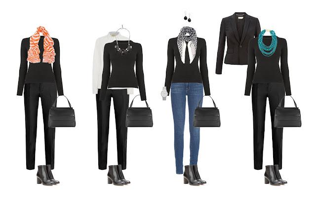 Комплекты капсульного гардероба с черным свитером