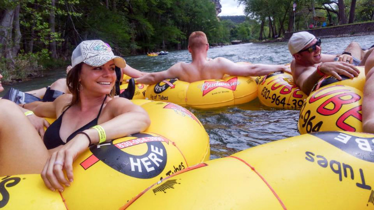 Floating the Guadalupe River, Shandy Tubes