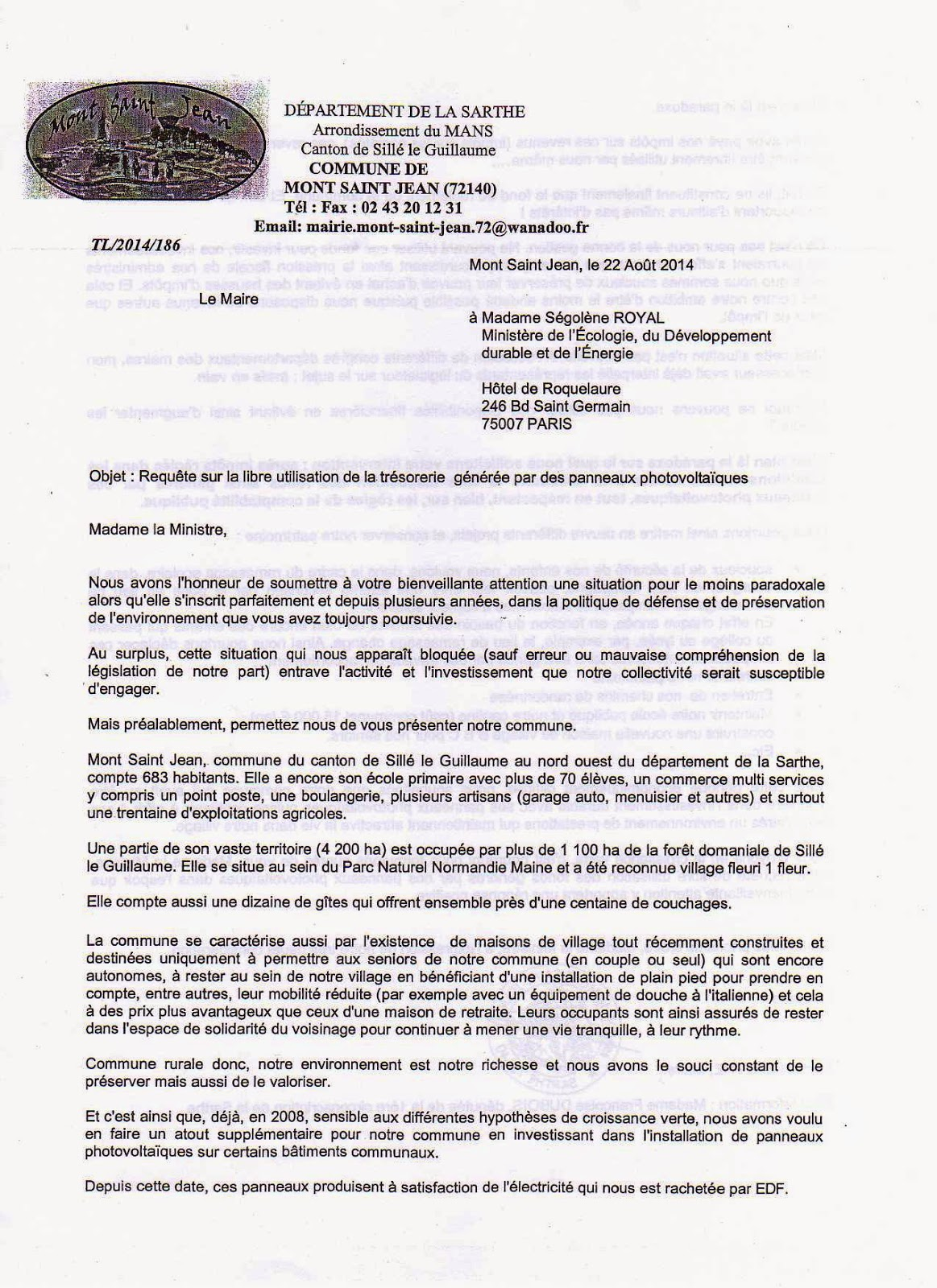 mont saint jean sarthe courrier au minist re de l 39 ecologie du d veloppement durable et de l. Black Bedroom Furniture Sets. Home Design Ideas