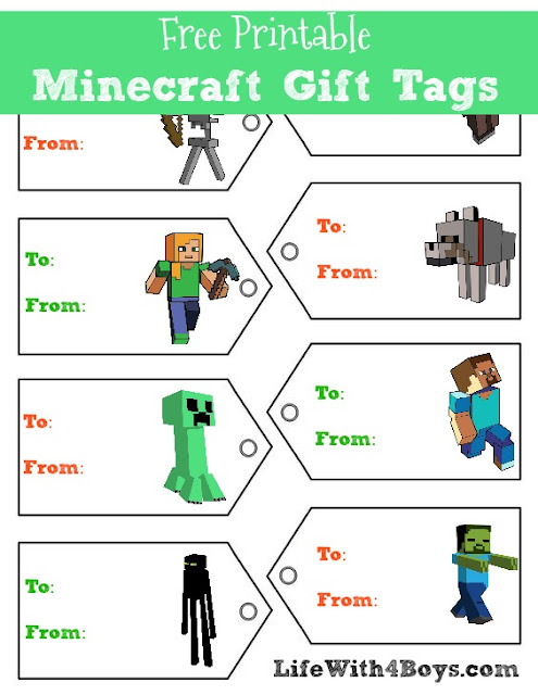 Free Minecraft Gift Tags