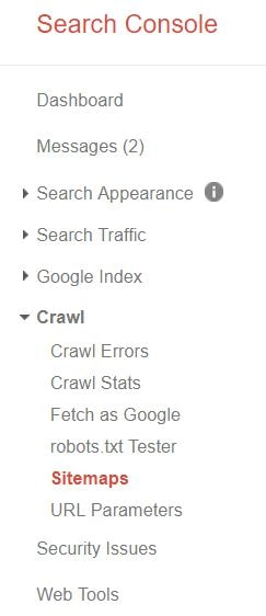 click on the crawl and then click on the sitemap
