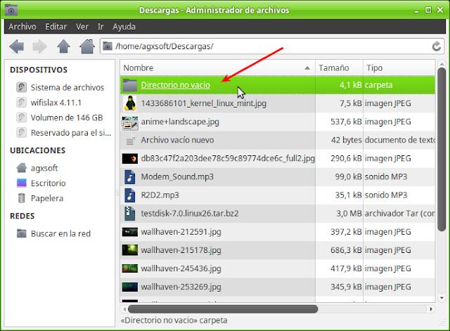 Borrar directorio no vacio en Linux