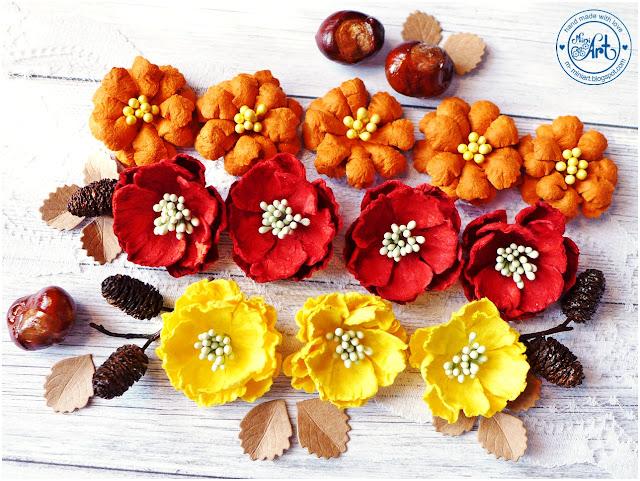 Kwiatuszki z papieru morwowego / Mulberry paper flowers – DT Craft Passion