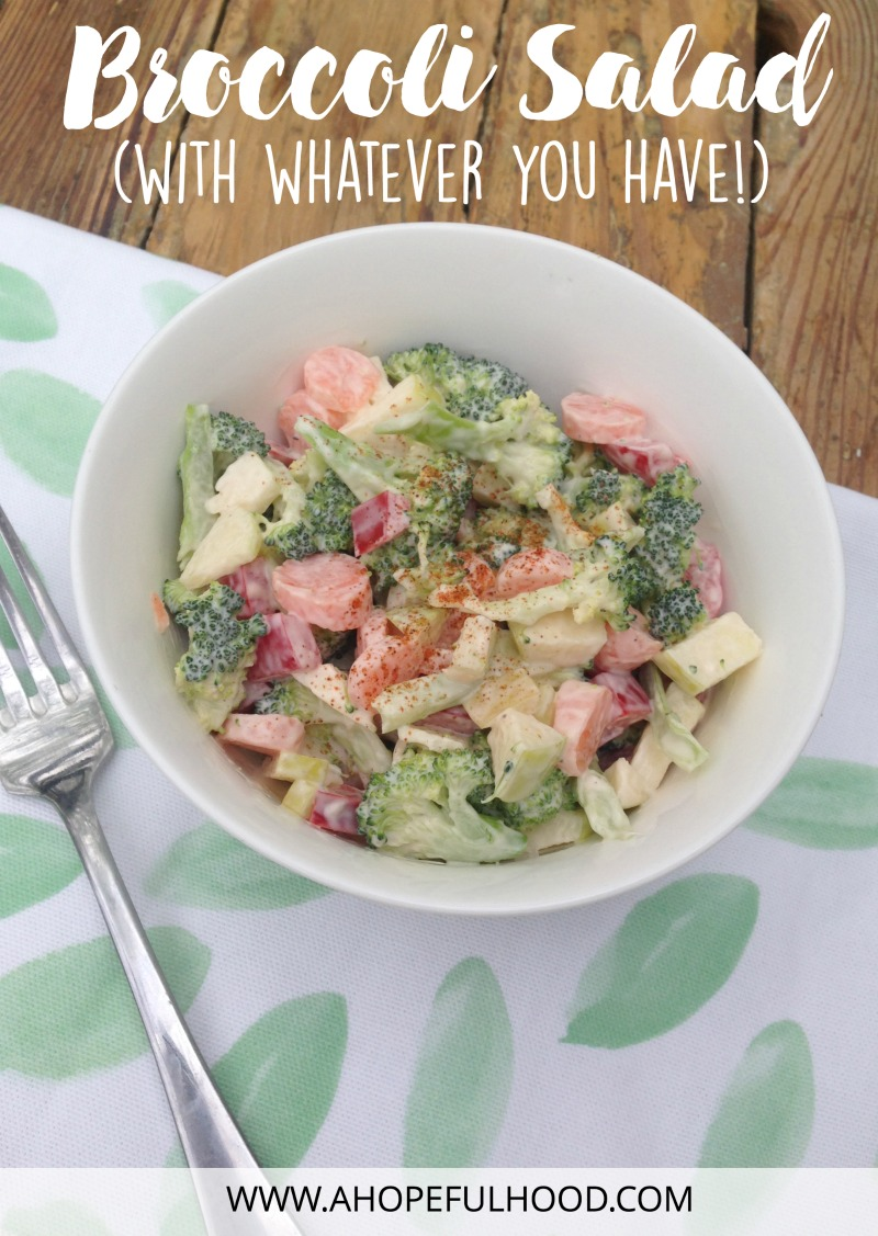 An easy salad to make this spring/summer! All you need is broccoli, plus whatever else you happen to have on hand. // via @ahopefulhood