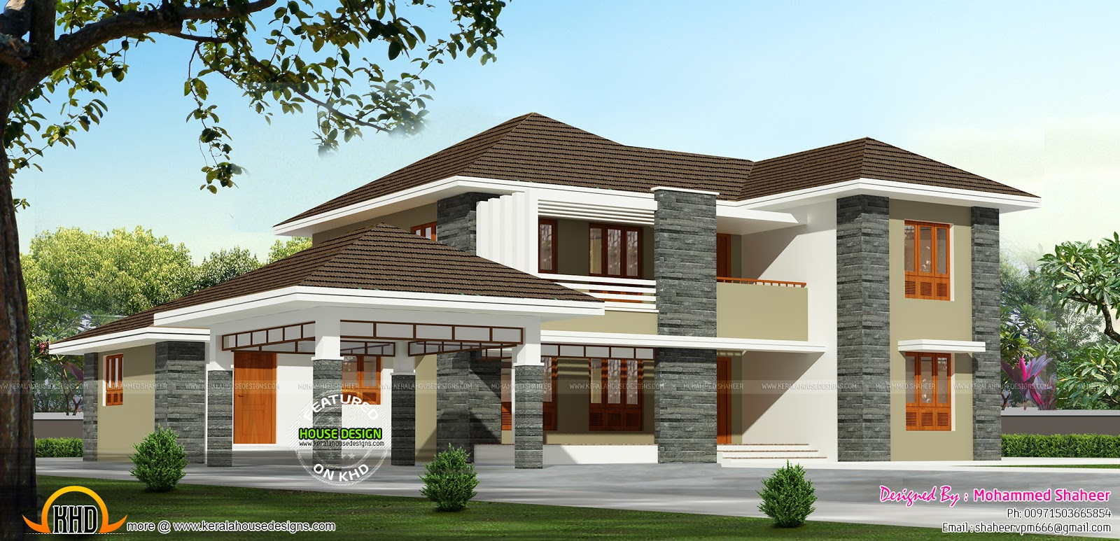 2000 square foot house kerala home design and floor plans for House plans in kerala with 2 bedrooms