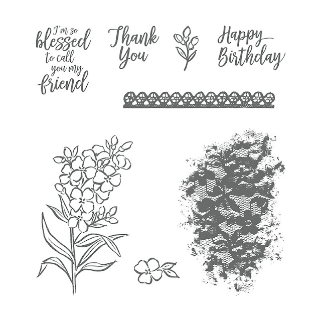 Pretty floral design Southern Serenade stamp set used by Jemini Crafts