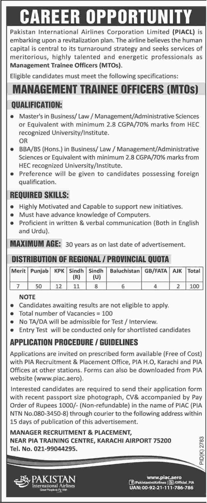 Jobs In Pakistan International Airlines PIA Jan 2018
