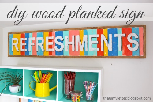 diy multi-color wood planked sign