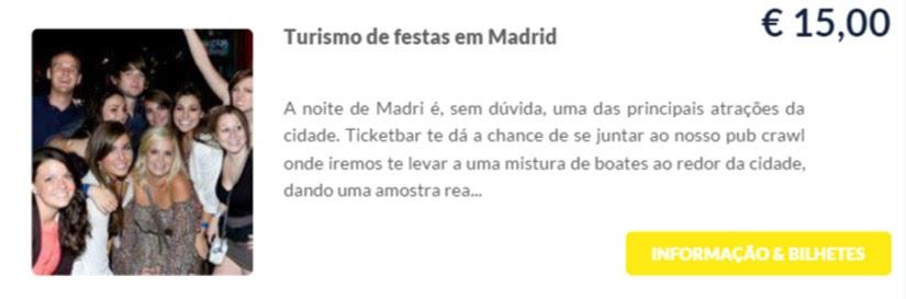 Madri - compre ingressos on-line para as atrações - Turismo de festa em Madri - Ticketbar