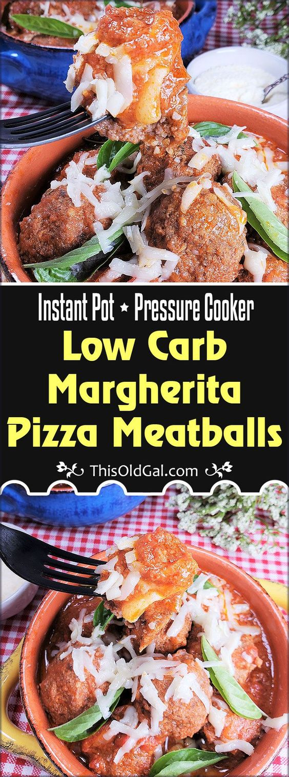 Pressure Cooker Low Carb Margherita Pizza Meatballs