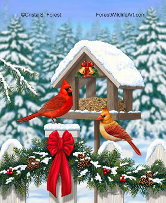 http://forestwildlifeart.com/birds-cardinals-christmas-feast.htm