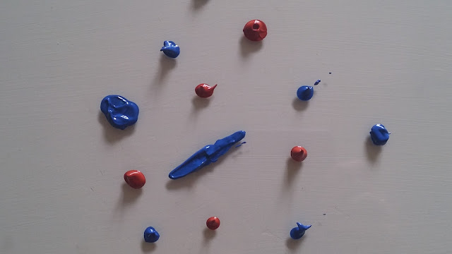 Acrylic paint blobs ready for dendritic painting