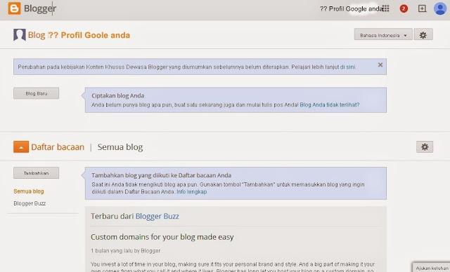 Halaman Awal Membuat Blogger blog