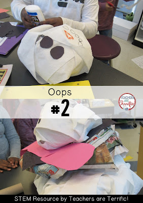 STEM Challenge: The task was to build a snowman! Kids thought their snowmen needed to be gigantic and quickly ran out of materials! What a great learning experience! Check this blog post for more winter STEM challenges!