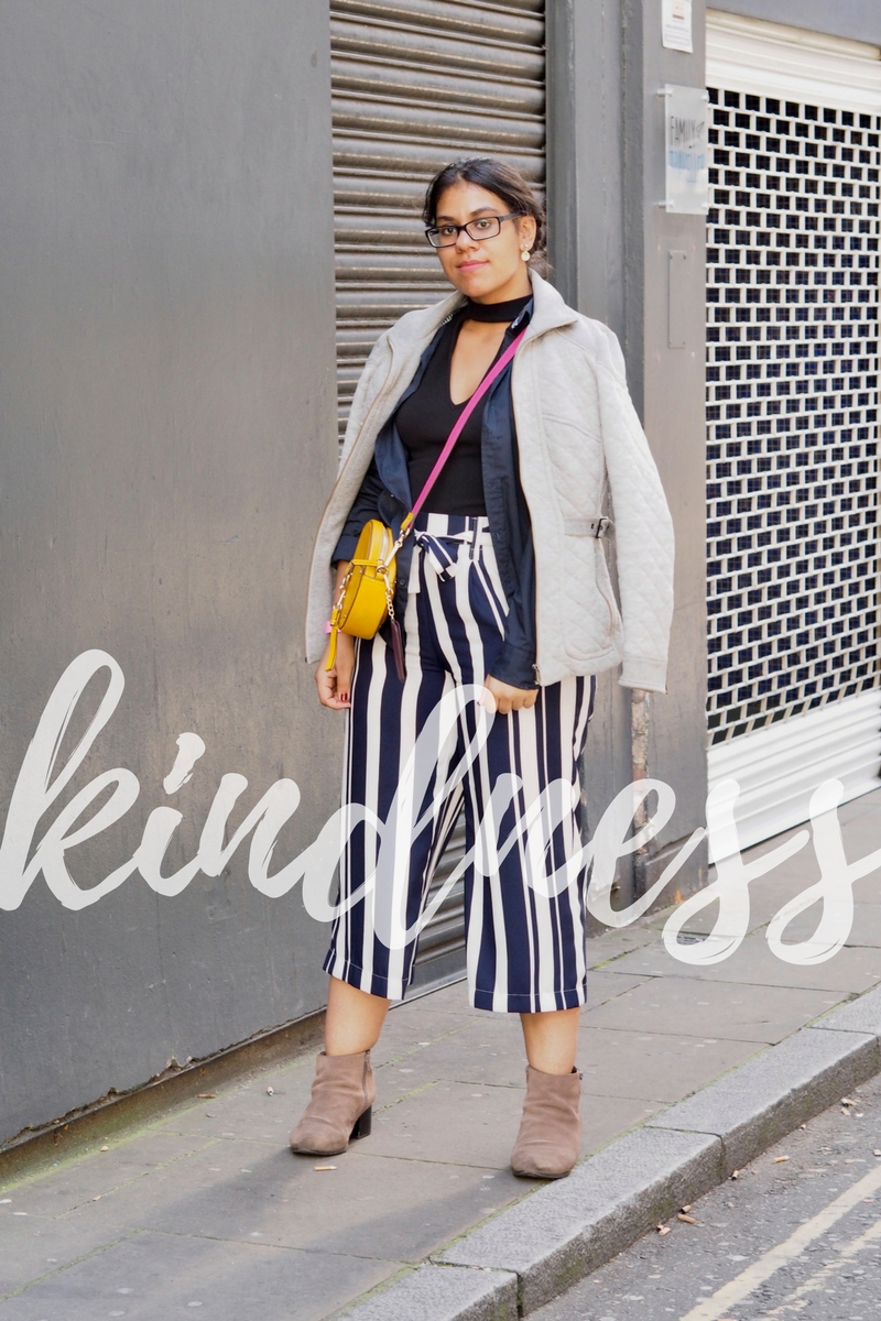 Navy Blue Outfit Inspiration With Kindness Overlay