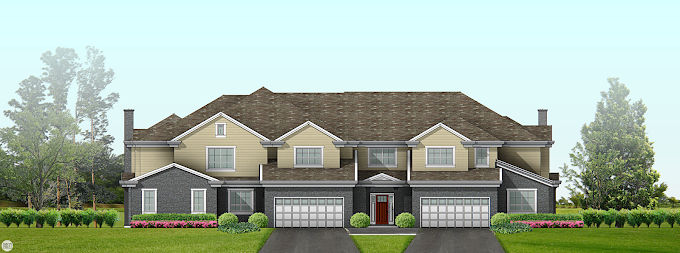 Residential Elevation View for Real Estate Marketing.
