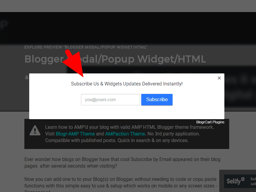 Follow by Email (Subscribe) Pop-Up Modal Blogger Widget with