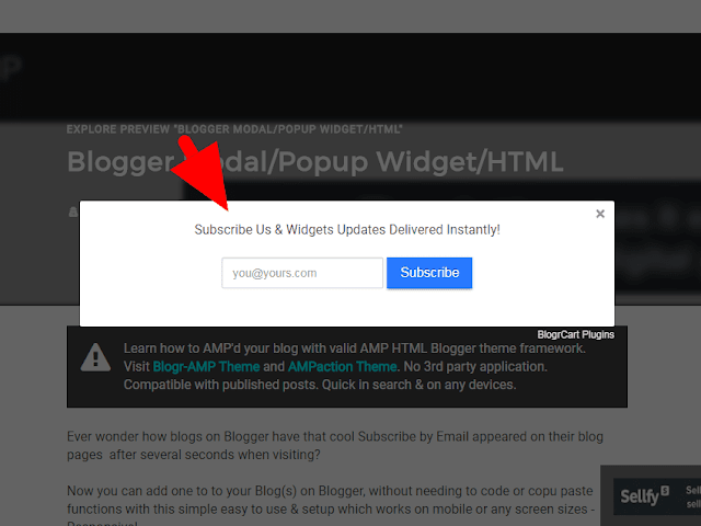 Free Follow by EMail (Subscribe) Pop Up Modal Blogger WIdget