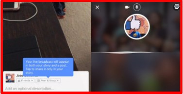 From facebook camera, live stories like instagram