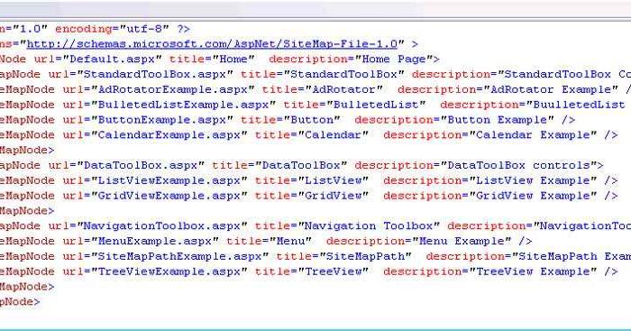 ASP.NET Web.sitemap file Example