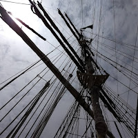 looking upward at a sailing ship mast