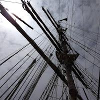 looking upward at a sailing ship mast