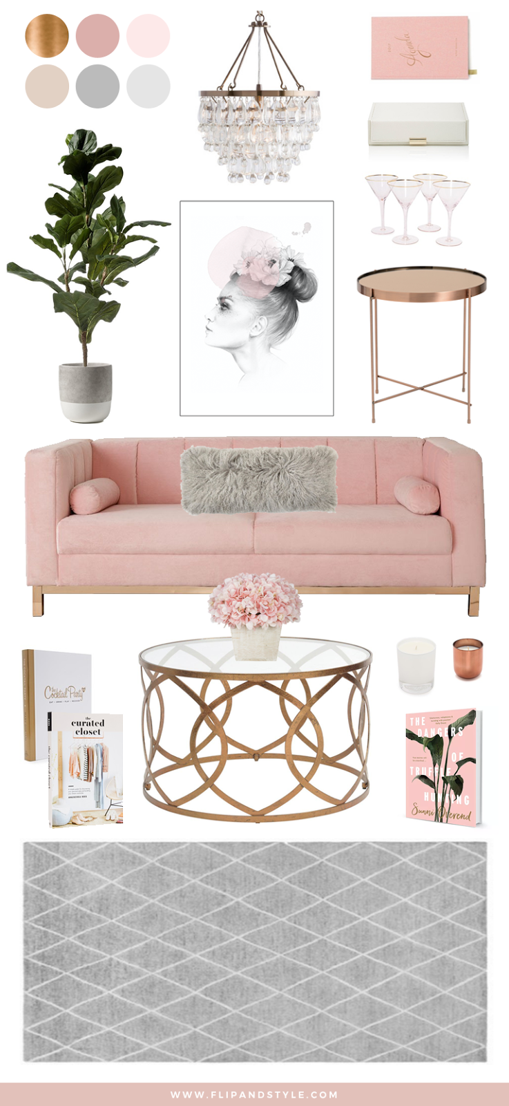 interior design home decor blush copper grey rose gold pink