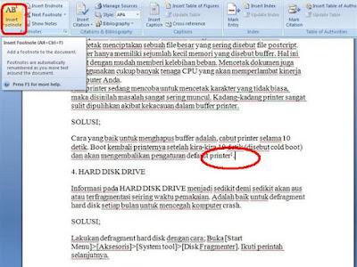 memiliki arti penting pada sebuah karya tulis ilmiah Cara Mengatur Posisi Catatan Kaki Yang Tepat di Ms Word