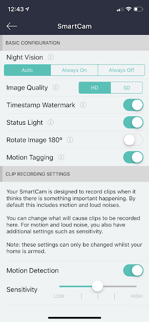 Neos smartcam settings menu screenshot