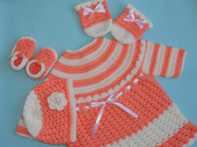 Baby Dress, Hat, Mittens