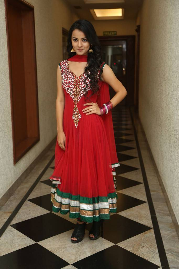 Telugu Cute Girl Mahima Long Hair Stills In Red Dress
