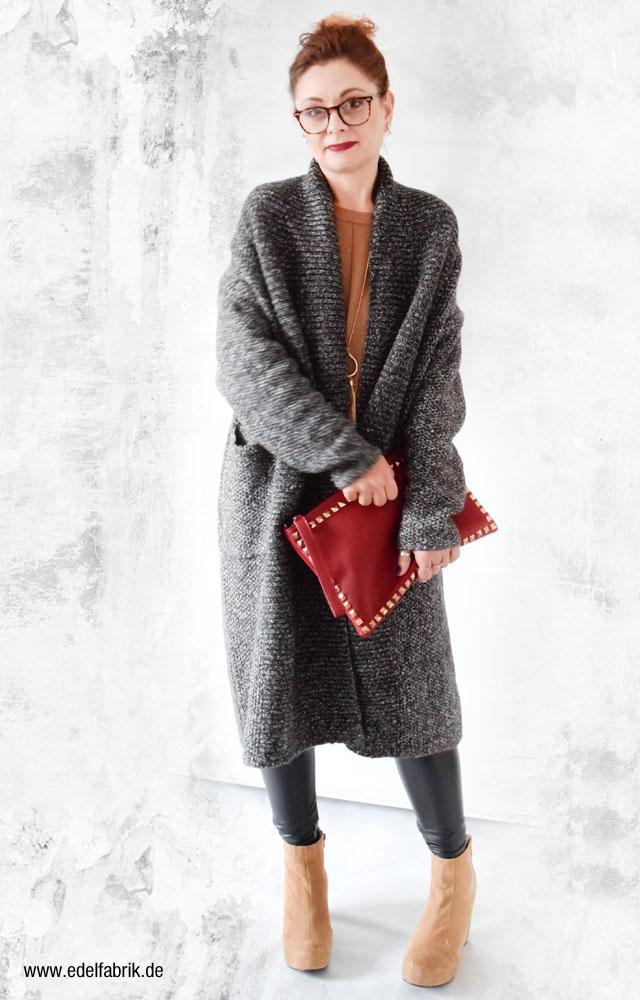 Grauer Strickmantel von Zara, Modeblog Ü40
