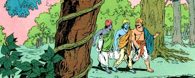 Krishna, Bhima and Arjuna head to Magadha as brahmins in guise.