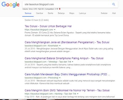 Tutorial Mengecek Artikel Blog yang Sudah Terindex Google 2