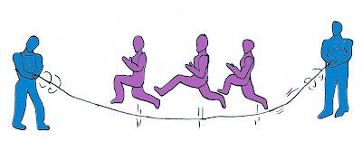 Salto alto atletismo juegos salto grupal soga