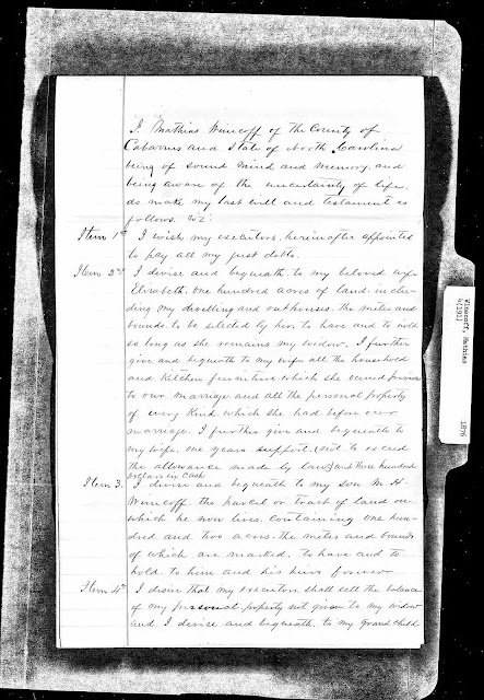 Transcription of the 02 Oct 1872 Last Will and Testament of Mathias John Winecoff, Jr. (1805-1876), My Maternal 4th Great-Grandfather