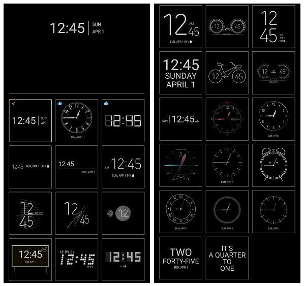 Samsung ClockFace adiciona novos relógios Always On Display