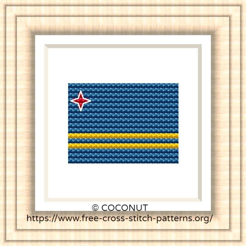 NATIONAL FLAG OF ARUBA CROSS STITCH CHART