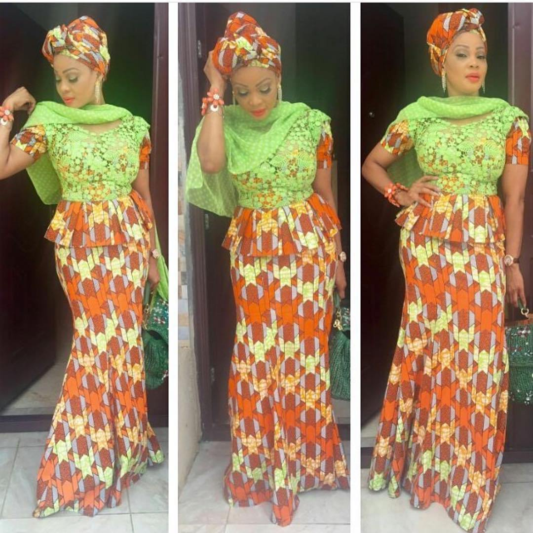 Lace Mix With Ankara Top And Long Skirt Styles Dezango