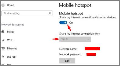 Share Computer Internet win 10 wifi