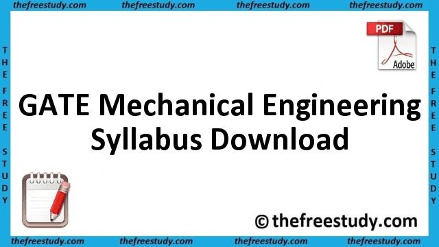 GATE Mechanical Engineering Syllabus Download