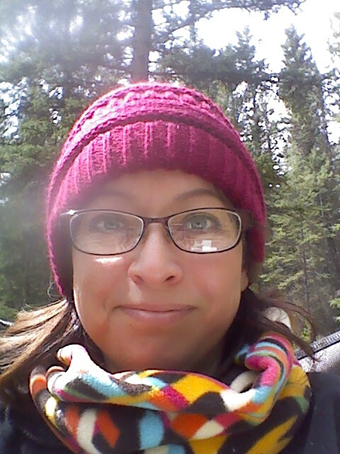camping with warm hat and neck warmer May 2016 Christy Sheeler