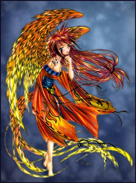 Anime Phoenix Wings Girl