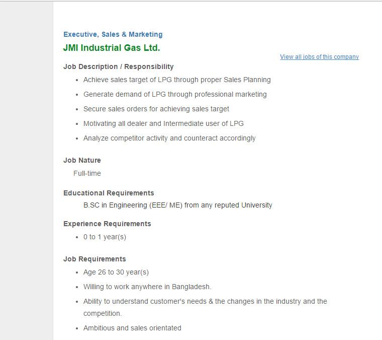 JMI Industrial Gas Ltd - Position: Executive, Sales