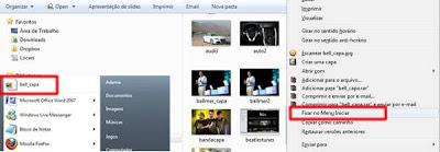 Fixando um arquivo no Menu Iniciar com o botão direito do mouse
