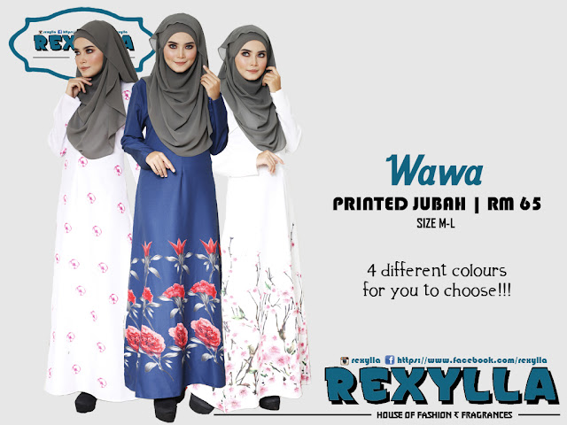 rexylla, printed jubah, wawa collection