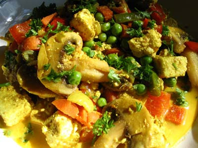 Paneer Cheese and Vegetables in a Creamy Gravy